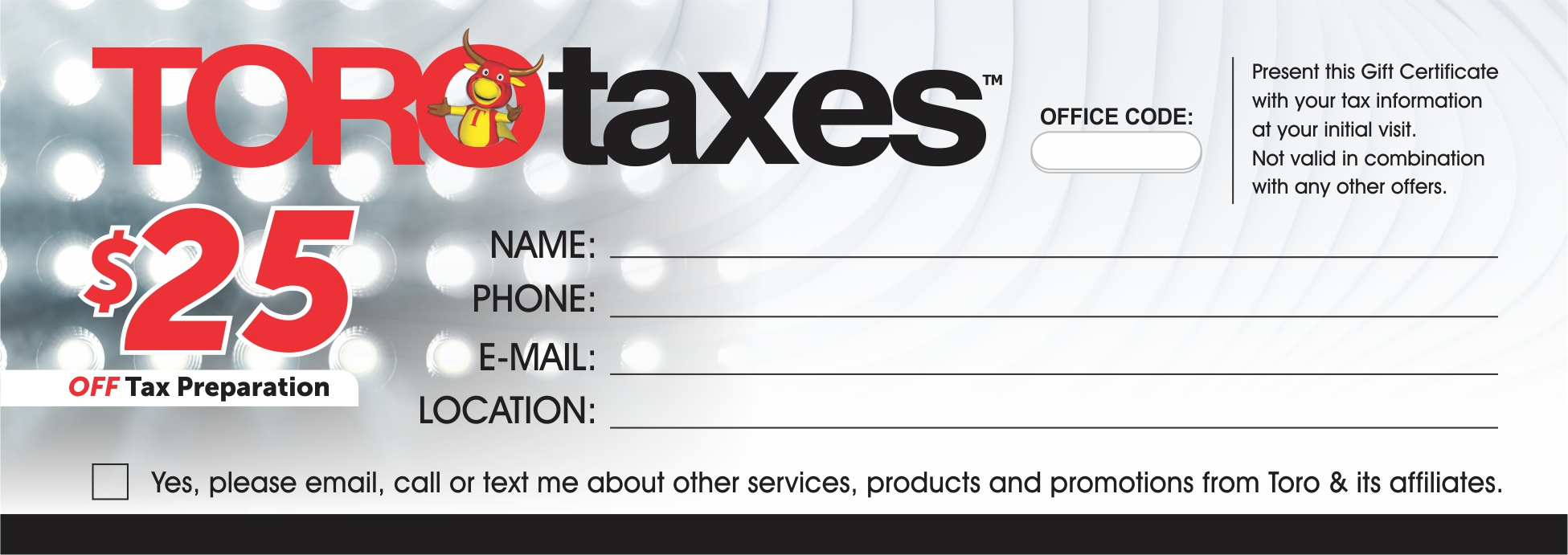 $25 off Tax preparation from Toro Taxes